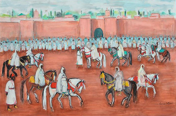 Hassan El Glaoui, painting of the Moroccan Royal Exit