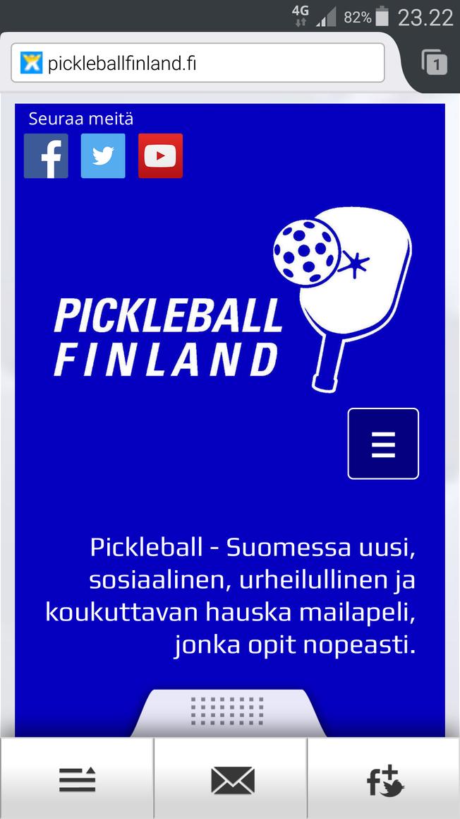 Pickleball Finlandin nettisivut optimoitu myös mobiilikäyttöön