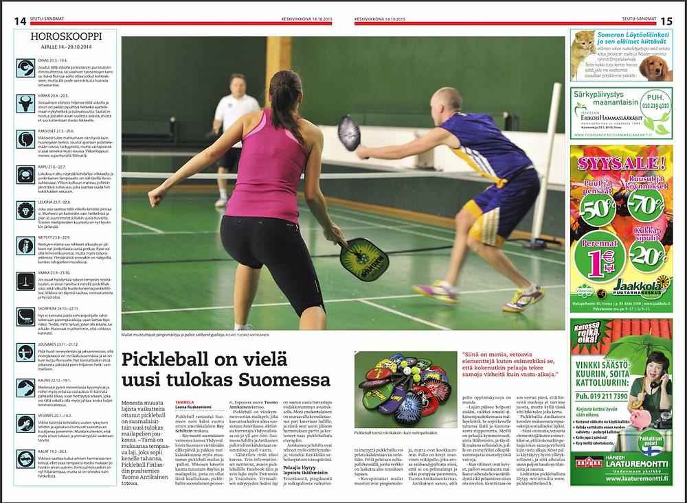 Pickleball Seutu-Sanomat 14.10.2015