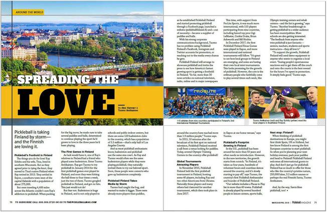 Suomi ja Pickleball Finland esittelyssä Pickleball Magazinessa!
