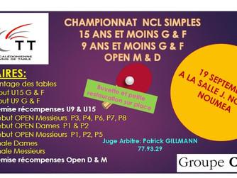 Inscriptions ouvertes pour le CHAMPIONNAT NCL OPEN U15 U9