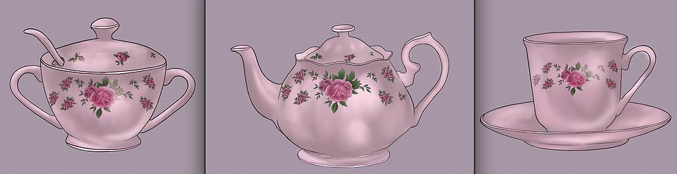 tea set fine art prints set