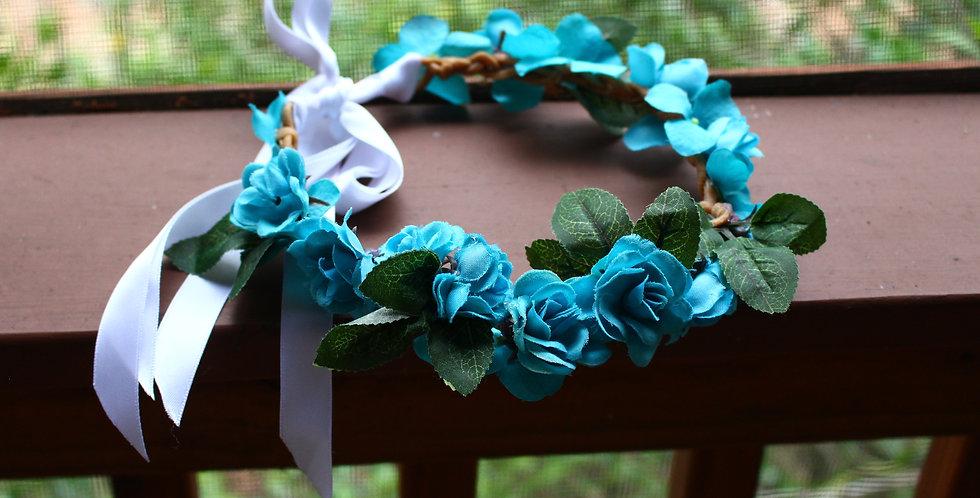 Braided Teal Floral Crown