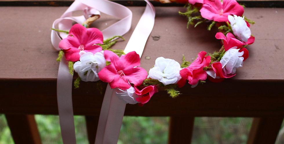 Braided Pink Floral Crown