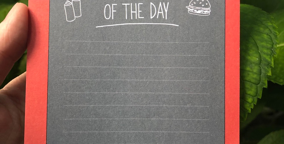 Burger of The Day Memo Pad