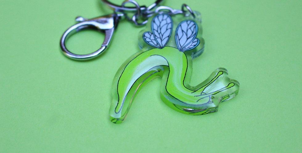 Glitter Floppy Winged Slug Acrylic Charm Keychain