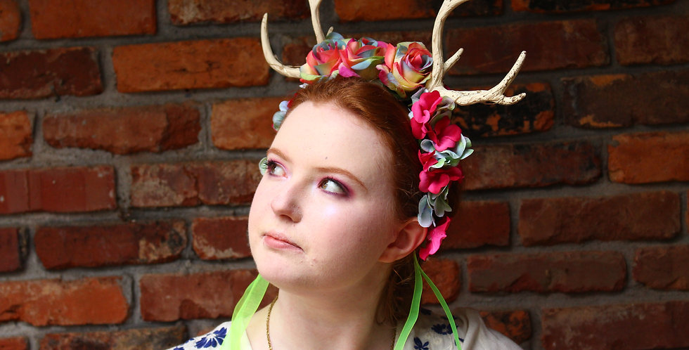 Rainbow Light Up Antler Crown