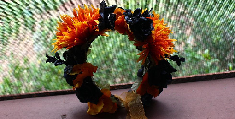 Light Up Orange and Black Floral Crown