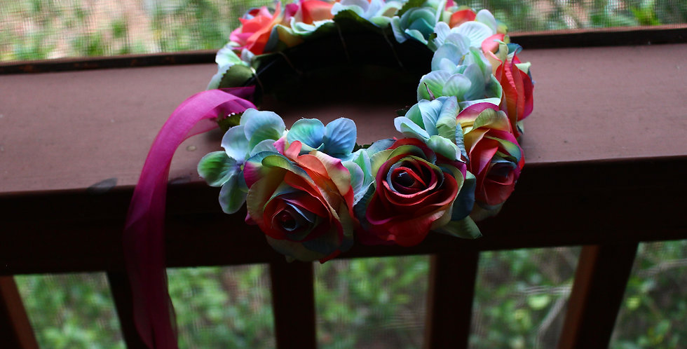 Light Up Rainbow Rose Floral Crown