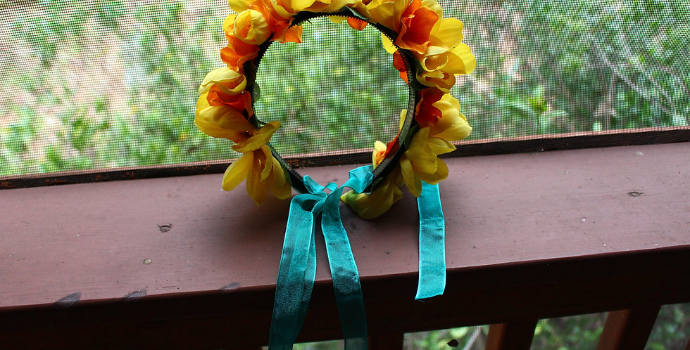 Light Up Yellow Floral Crown with Teal Ribbons