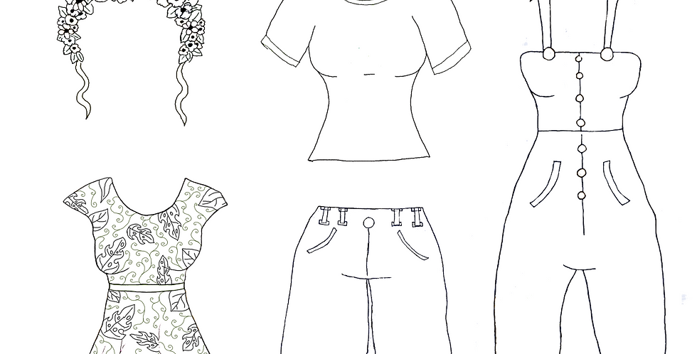 Swamp Girl Paper Doll Clothes