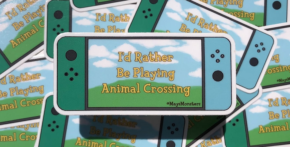 I'd Rather Be Playing Animal Crossing Vinyl Sticker