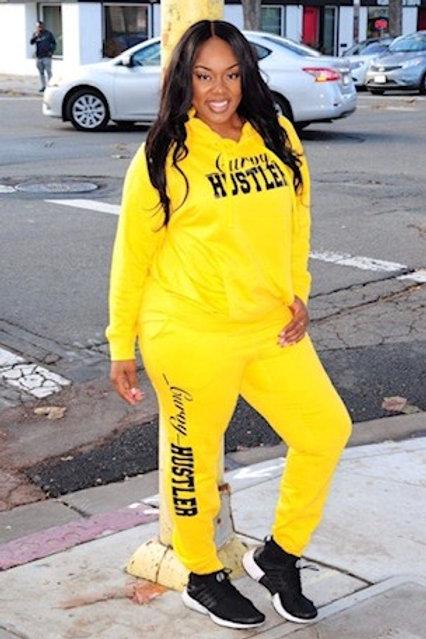 The Yellow Curvy Hustler Sweatsuit