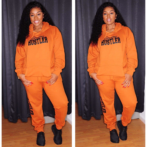 Curvy Hustler Orange Sweatsuit