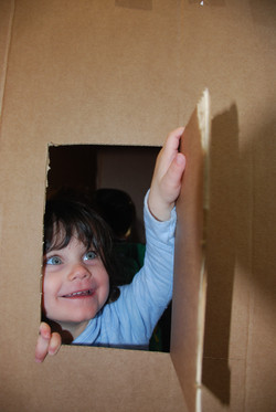 playing in the fort she built