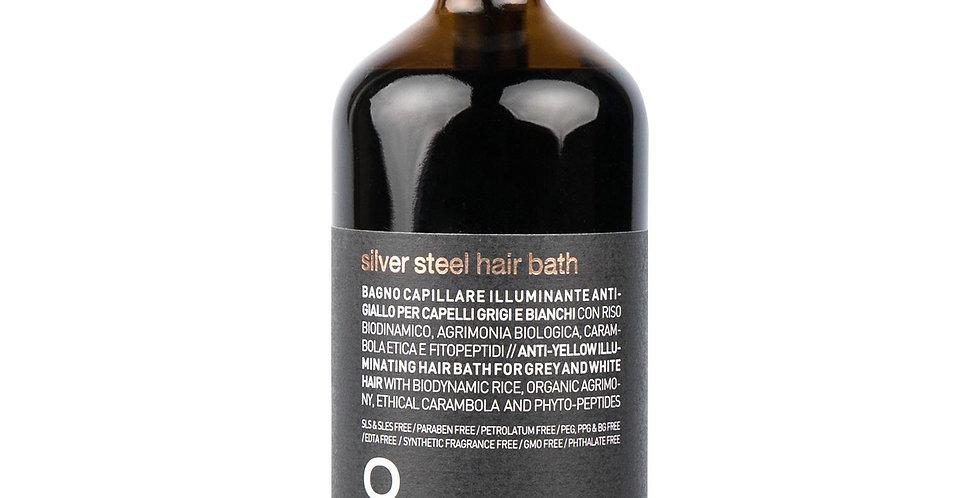 MEN silver steel hair bath - šampūnas eliminuojantis geltoną pigmentą