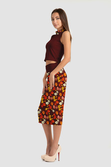 Leaf Pattern Formal Skirt