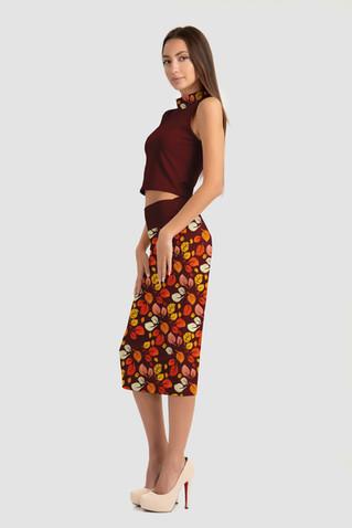 Leaf Pattern Formal Skirt