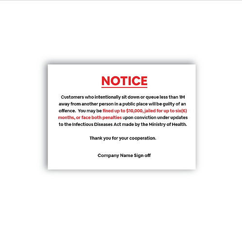 COVID-19 Notice Sticker Poster