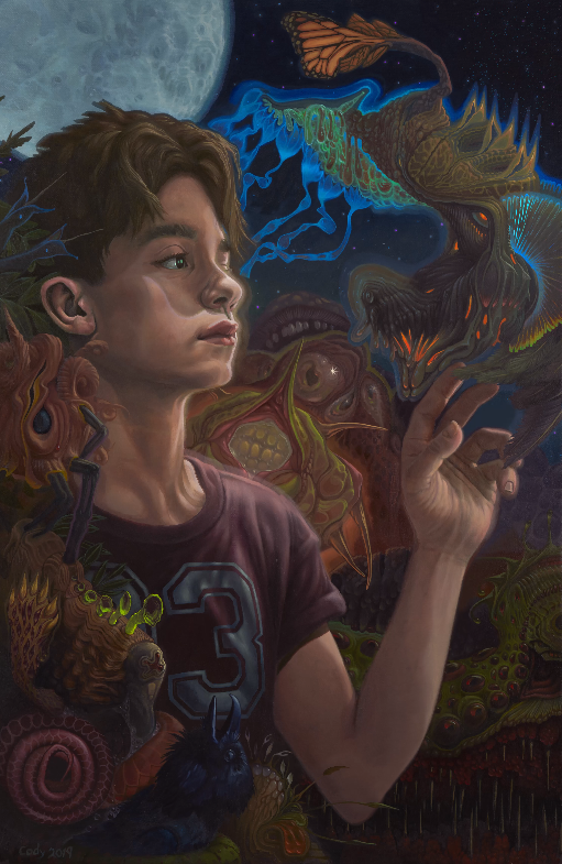 """A boy finds himself within a vision of animated mutations. Their forms encroach so much they threaten to overwhelm him. At left are a mass of denizens, exhibiting mammalian, fungal, plant, snake, and bird characteristics, all in the process of a slow fermenting metamorphosis. The least mutated member of the group is a crow, mouth open and facing vertically in a soundless """"kaw!"""" as it is absorbed into the mass. At lower right is a particularly toothy creature; something akin to a giant chlorophyll green membrane, thick a... Read more #alien #animation #boy #dream #figurative #psychedelic #surrealism"""