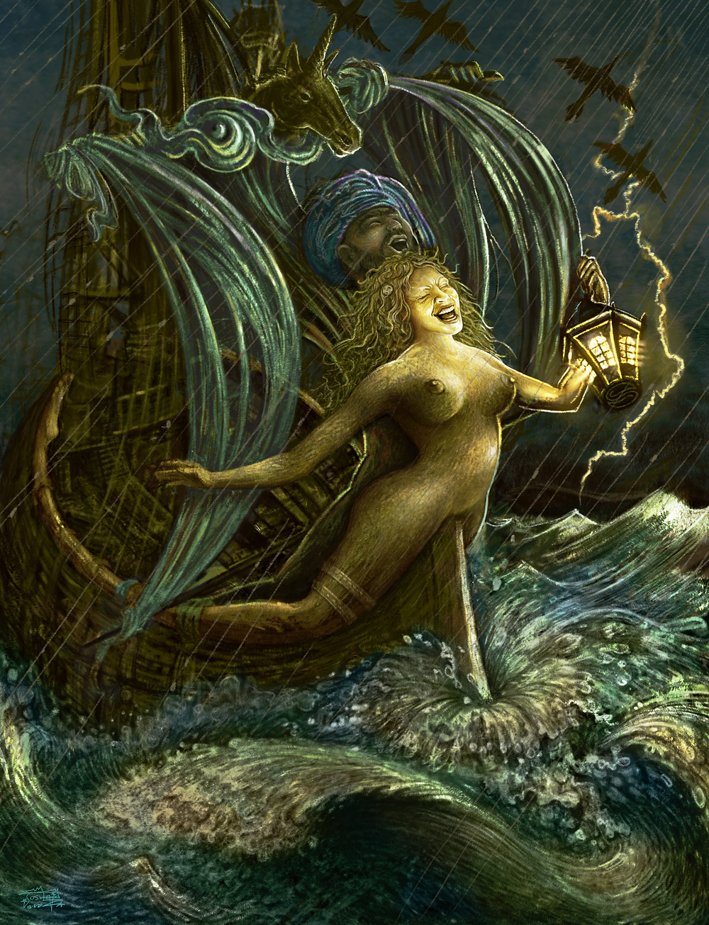 For those who know what words cannot speak. Sail on into the night and across the stormy ocean of existence.  This one of a kind original was painted by hand by Joshua S. Levin on Procreate, and sent like a message in a bottle to the block chain at 5000 x 6527 pixels.