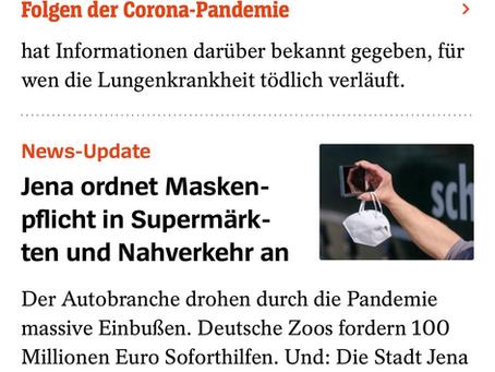 Bald Maskenpflicht in Deutschland? Der Spiegel spricht von erster Maskenpflicht in Jena.