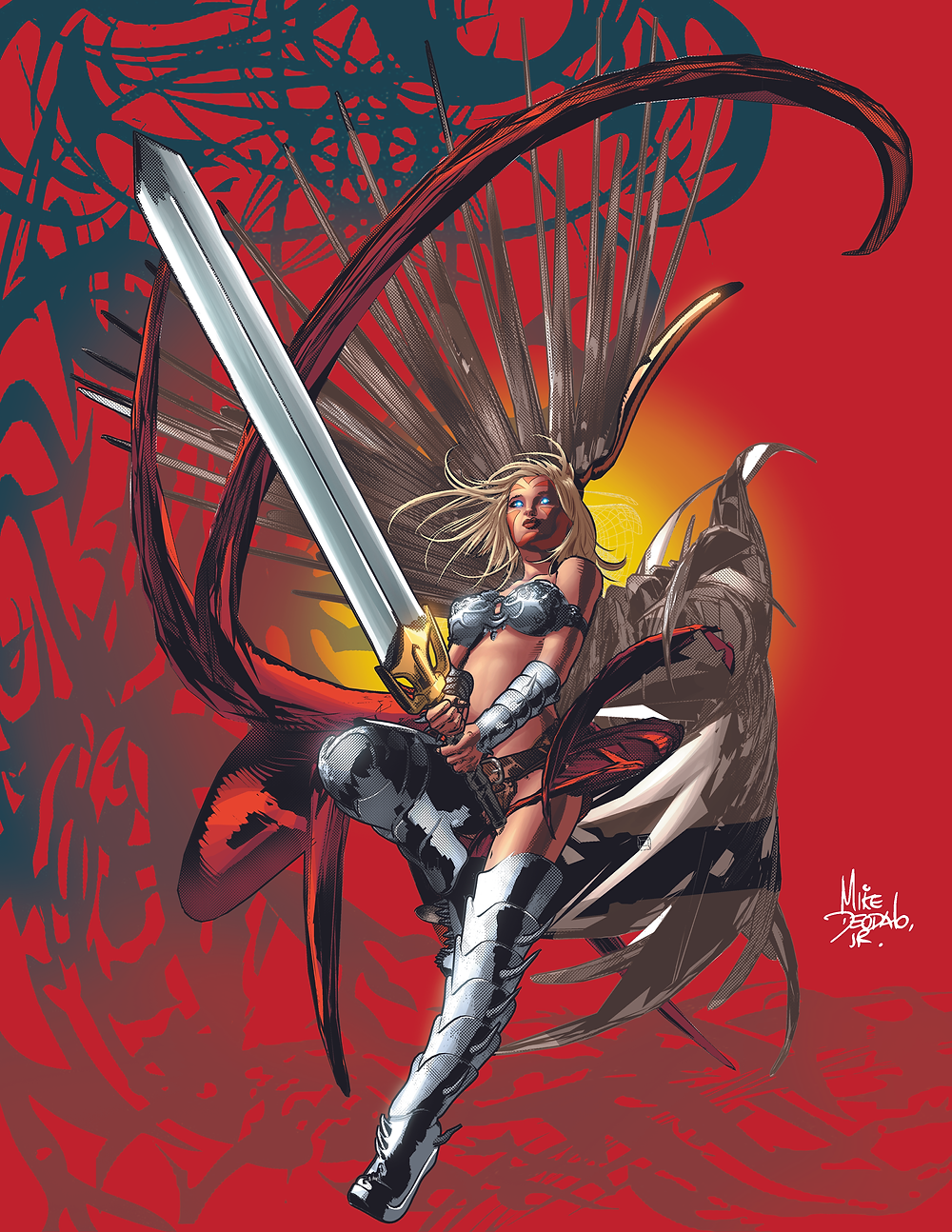 Mike Deodato's Bad Girls  The Angel God's armies can only rely on the Angel of War to defeat Satan. Colors by Marco Lesko.  After his smash hit Wonder Woman run in 1994, Mike Deodato became the most known Bad Girls artist of his time, bringing power and sensuality to an army of dangerous beauties like Lady Death, Glory, Vampirella, Xena, Batgirl, Elektra and many others. Now he is bring them back to set the NFT world on fire!