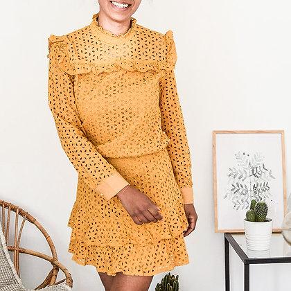 mara select robe jaune été dentelle