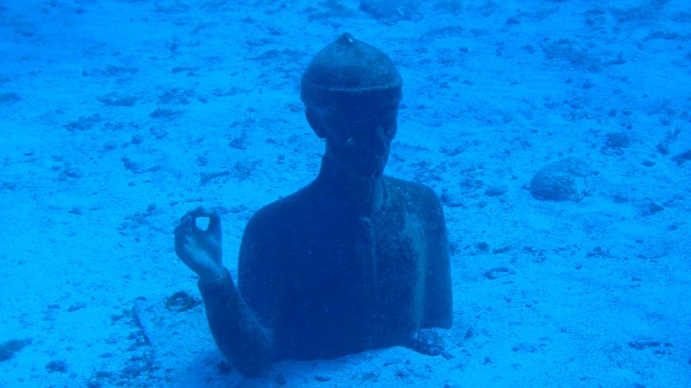 Buste commandant Cousteau, réserve marine Malendure, croisière Guadeloupe