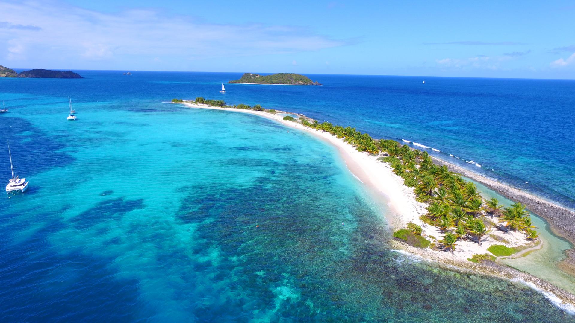 Sandy island, Catamaran Grenadines , drone grenadines, croisiere grenadines