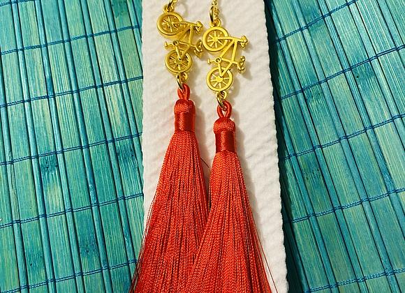 Bicycle Tassel Earrings