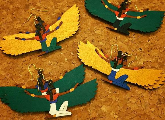 The Isis Earring - Teal Wings