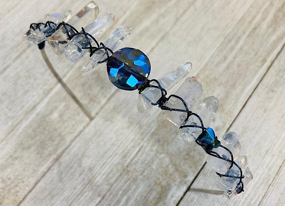 Clear Quartz & Metallic Blue Crown