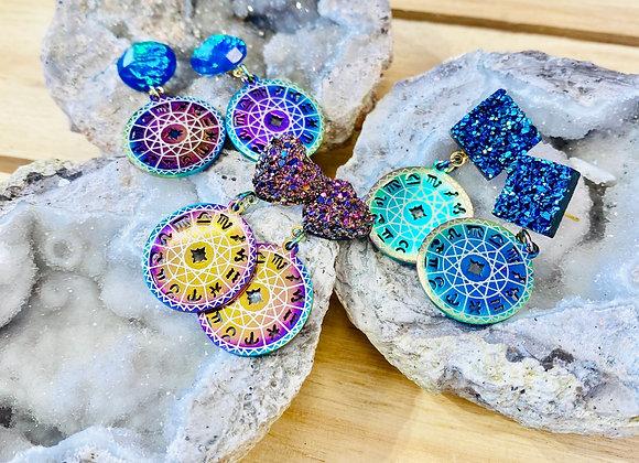 Druzy Zodiac Wheel Earrings