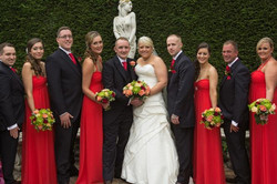 Chris & Leanne with their wedding party at The Yew Lodge Hotel