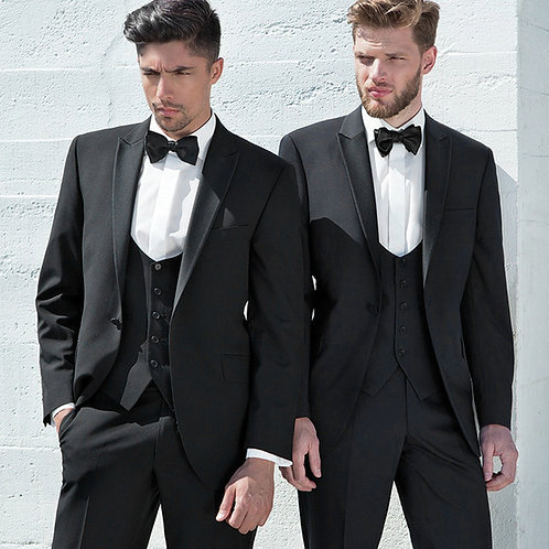 Torre Tailored Fit Black Dinner Suit