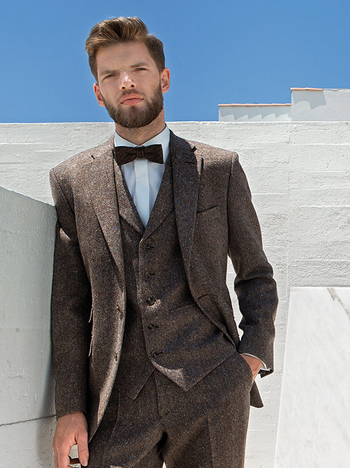 Torre Brown 3 Peice Tweed Suit