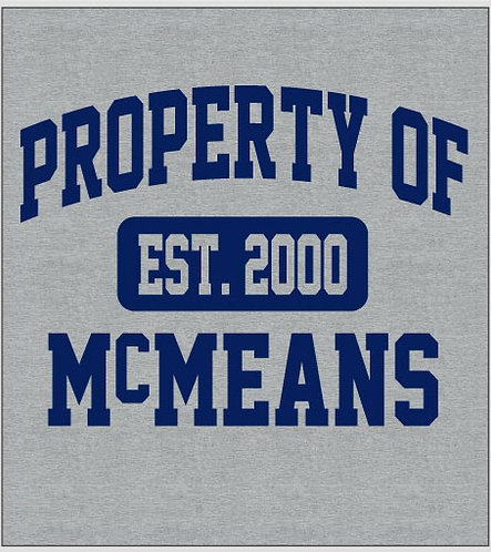 """UNISEX T-SHIRT - Sport Grey """"Property of McMeans"""""""