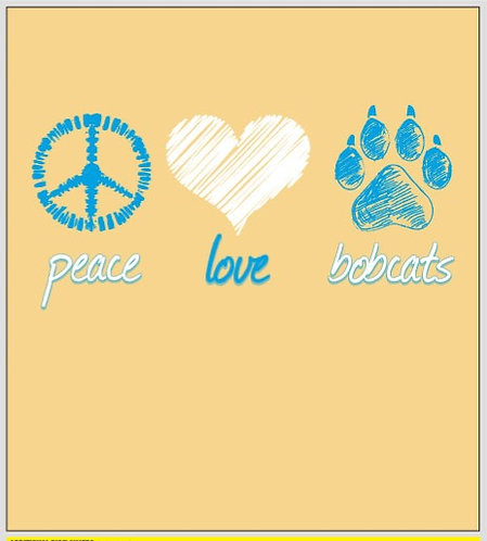 "LADIES T-SHIRT ""Butter"" Comfort Colors ""peace love bobcats"""