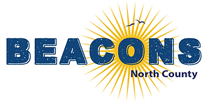 Logo of Beacons, Inc. all in caps, blue letters and golden sun peeking through the O with 2 seagulls