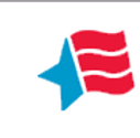 Red white and blue logo with half a blue star and 3 wavy red stripes for Career Stop