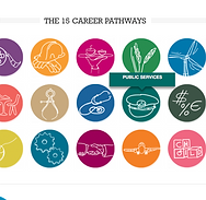 Multi-colored display of icons for different career pathways