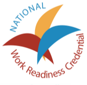 Brown, gold and blue logo for National Work Readiness Credential and circular triangles intersecting