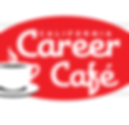 Logo for California Career Cafe in red and white with white coffee cup