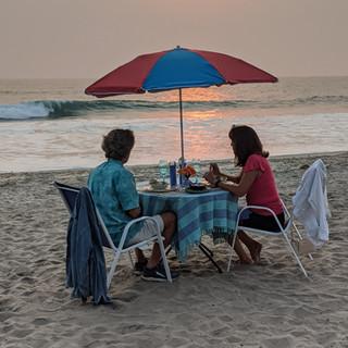 Warm breezes, beachfront sunset dinner