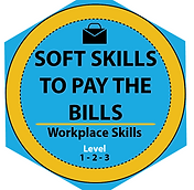 Digital badge in aqua blue and gold for Soft Skills to Pay the Bills