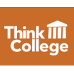Logo for Think College in brown and white