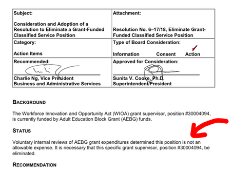 MiraCosta admits use of adult ed block grant to pay for a $71,000 grant supervisor for federal WIOA