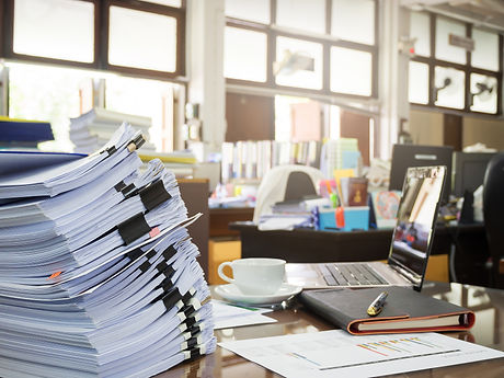 Business Concept, Pile Of Unfinished Documents On Office Desk, Stack Of Business Paper.jpg