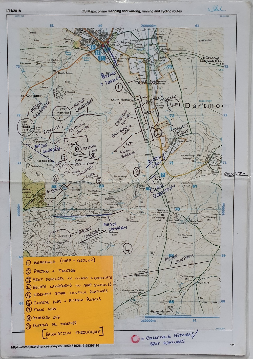 annotated printed OS map
